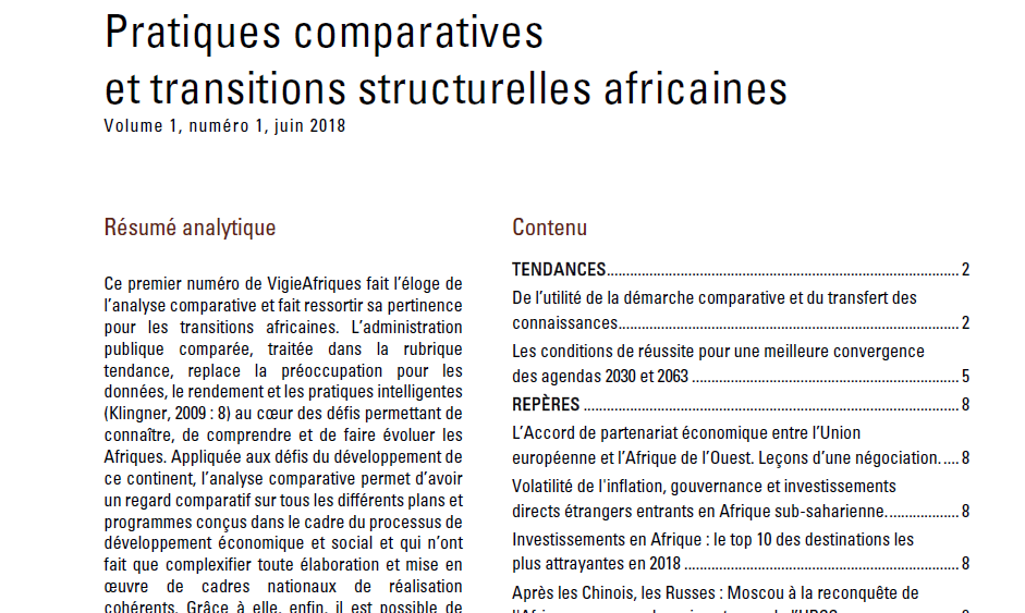 Pratiques comparatives et transitions structurelles africaines