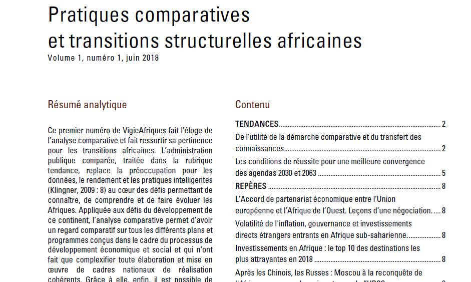 Pratiques comparatives et transitions structurelles africaines